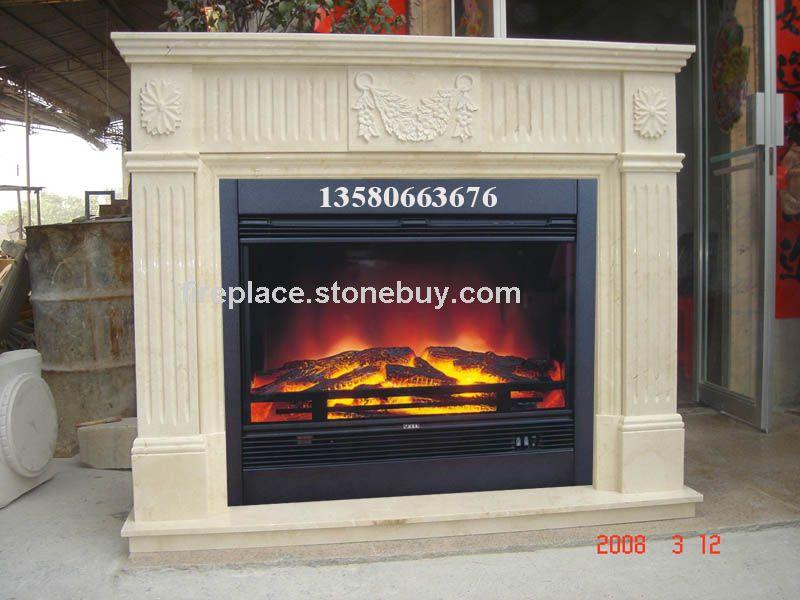 F-005(Fireplace Mantel西班牙米黄雕花壁炉架)