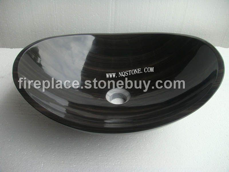 B-054出口美国黑木纹异形洗手盆MARBLE SINK