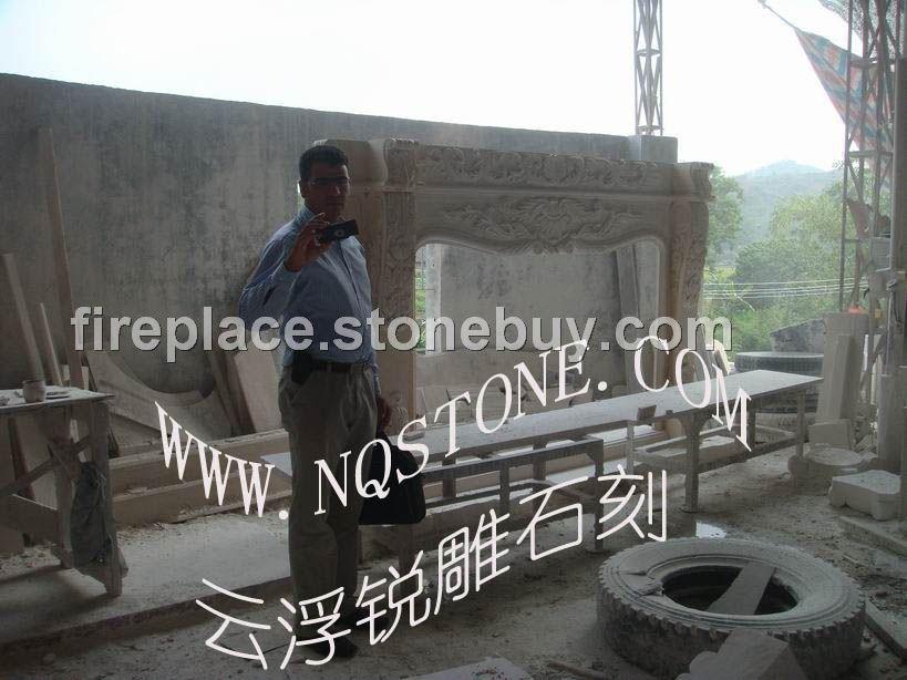 定制超大尺寸大理石雕刻壁炉MARBLE MANTEL