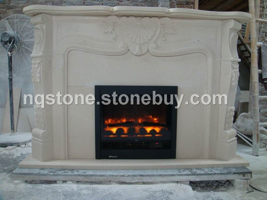 F-225石灰石雕花壁炉架Limestone Fireplace