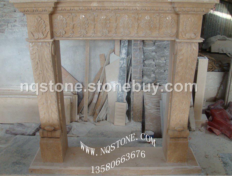 F-002(Fireplace Mantel米黄洞石壁炉