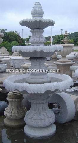芝麻白花岗岩喷泉,喷柱喷泉,西方喷泉
