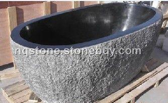 T-011出口德国黑色花岗石自然面浴缸(BATH TUB)