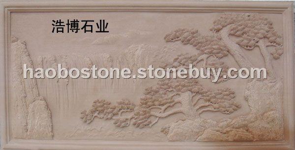 沙岩雕刻 浮雕 石雕 牌匾 山水雕刻