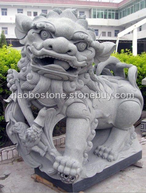 石雕 青石狮子 园林景观 园林雕刻 动物雕刻图片 - 产品图片信息
