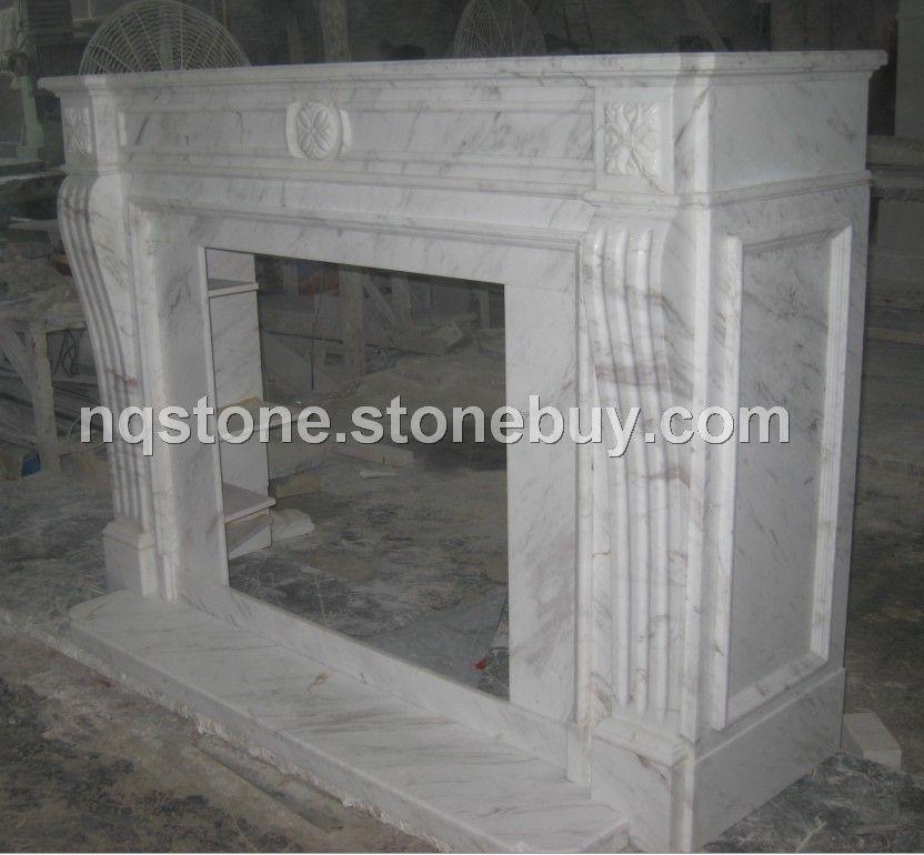 F-2001希腊进口白色大理石现代风格壁炉架
