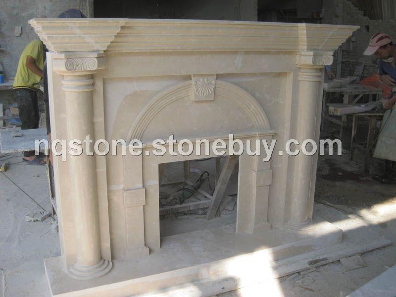 F-2006天然莎安娜米黄欧式现代风格壁炉架
