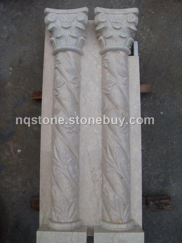 西班牙米黄大理石雕刻罗马柱