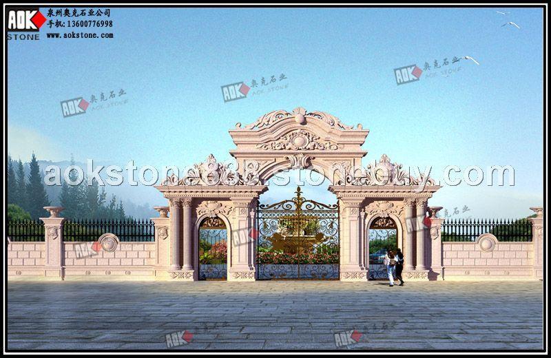欧式别墅围墙大门效果图