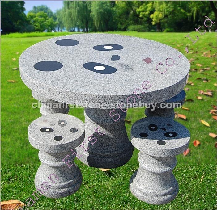 圆形花岗岩桌椅套装GCF504