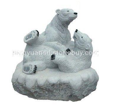 北极熊雕塑 动物雕塑 石雕熊 - 石材贴吧