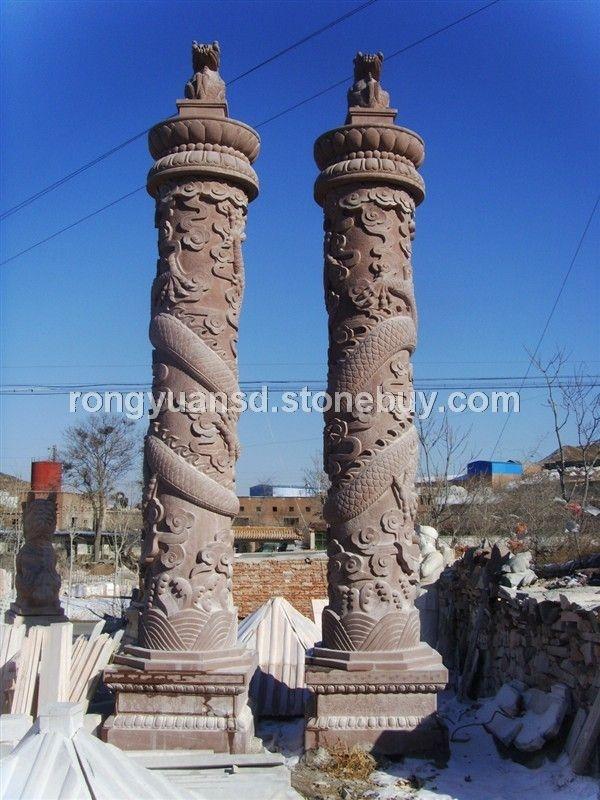 石柱雕刻 文化柱 罗马柱 龙柱 石雕景观柱 圆柱