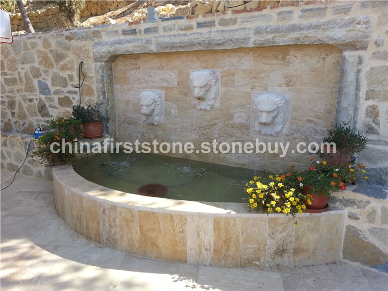 MAF356洞石狮子头墙壁喷泉