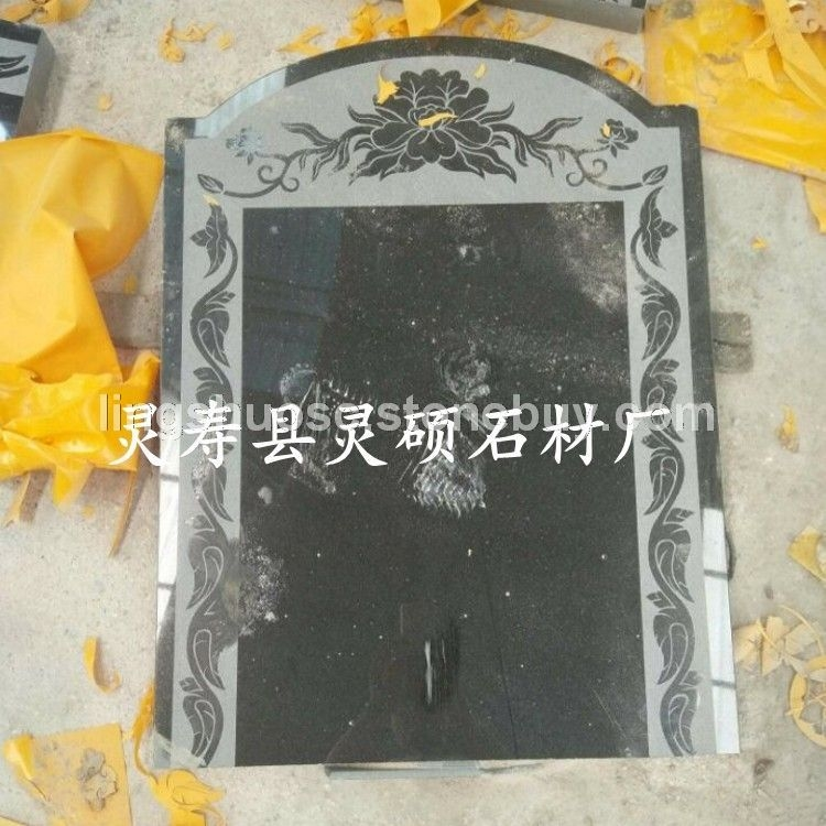 山西黑石材墓碑生产厂家 套碑定做 加工 雕刻