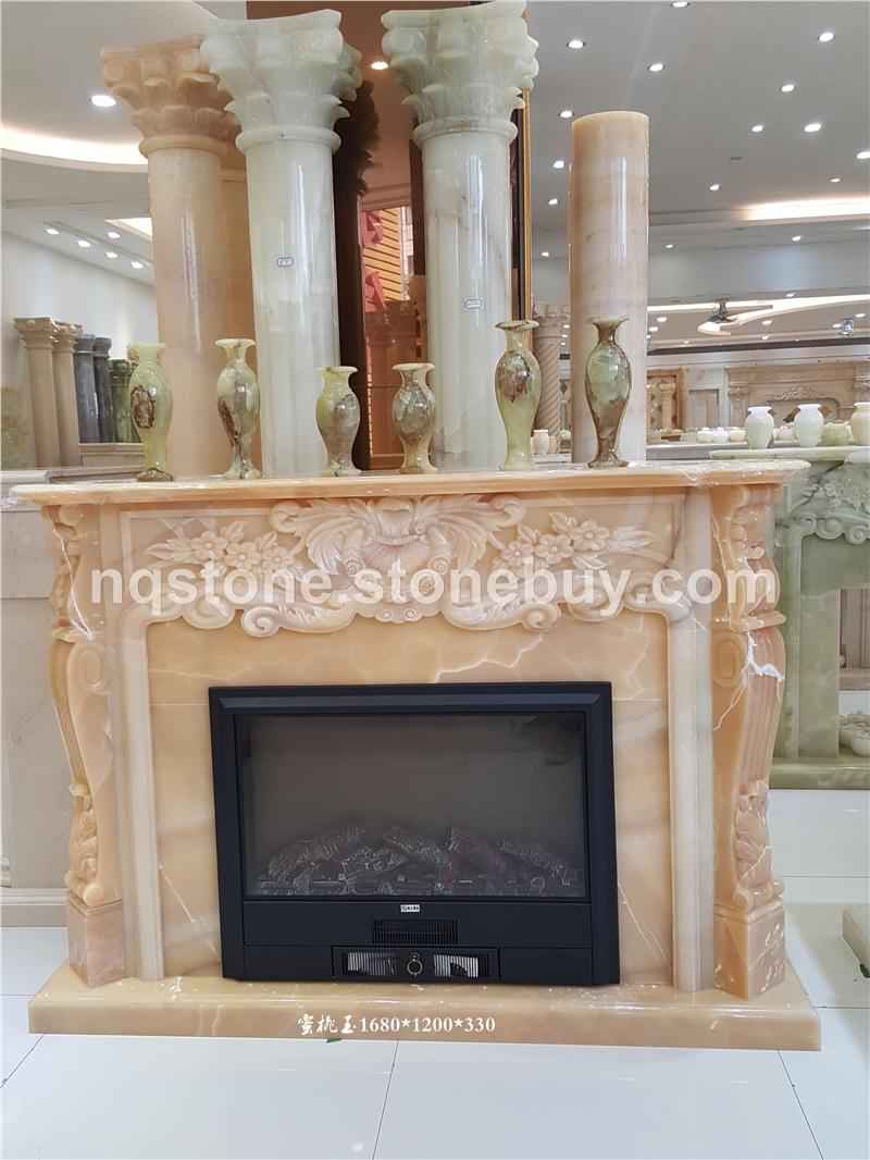 蜜桃玉欧式手工雕刻壁炉架