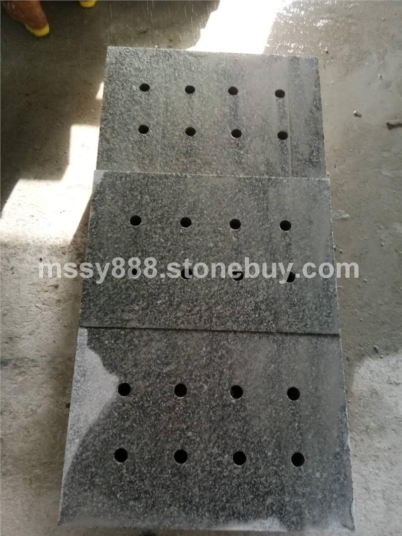 大鸿石业小铁灰石材/珍珠灰石材钻孔水沟盖