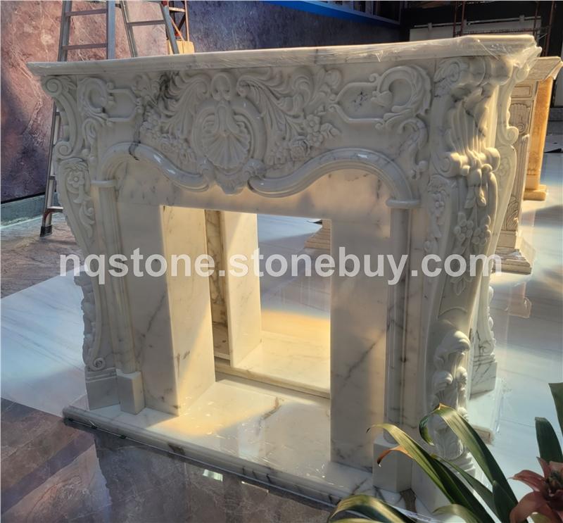 意大利进口天然雪花白手工雕刻壁炉