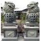 双狮戏珠 青石石狮子 石雕 动物雕刻 石狮子
