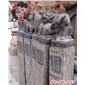 仿古做旧雕刻 石雕拴马桩 石柱子 摆件石头栓马石