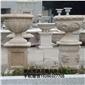 订做黄锈石花钵 带底座花盆园林雕刻,动物 人物石雕 喷水池 花钵栏杆 花岗岩石材雕塑