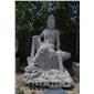 水月观音-凿面雕刻  人物雕塑  佛像雕塑