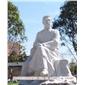 石雕鲁迅  名人雕塑专业加工  汉白玉半身像