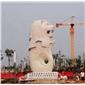 石雕魚尾獅 大型噴水石材魚尾獅雕塑