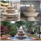 三层锈石雕刻喷水池