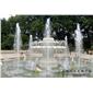 石雕噴水池 黃銹石水缽定做 噴泉景觀雕刻