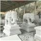 芝麻白大象 福建大象石雕厂 背驮宝瓶石雕大象