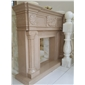 F-026金世纪米黄大理石雕刻壁炉Fireplace Mantel)