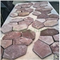 枣红砂岩蜂窝形 网贴 室内外装饰石材