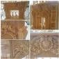 进口天然A级桔子玉石纯手工雕刻壁炉架