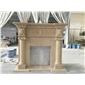 世紀米黃大理石手工雕刻壁爐架