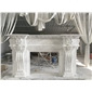 别墅大厅雅士白欧式古典壁炉Fireplace Mantel专业设计、制作石材壁炉架