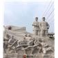 供应红色主题人物石雕 红军石雕塑