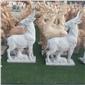 公园石雕羊 汉白玉石雕小羊 草地大理石动物摆件