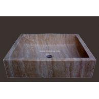 大理石洗手盆YF-094黄白洞石槽盆