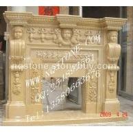F-228罗马金世纪米黄大理石雕刻壁炉