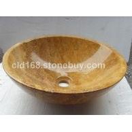 专业生产大理石脸盆-黄金洞石-YF009B