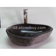 专业生产石头脸盆YF152(丹巴黑)卵石型