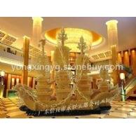 深圳酒店工厂玉器摆件礼品 2米黄玉一帆风顺龙船