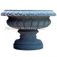 石雕花钵,石雕花盆,山东黄锈石花钵喷泉