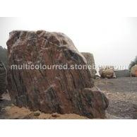 湖北国产幻彩红花岗岩石材园林假山风景石