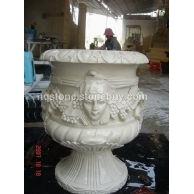 莎安娜米黄雕刻花盆