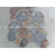 锈板7块网贴4组每平米 碎拼效果 天然碎拼石材