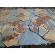 4 黄红锈板网贴石 碎拼石材 质优价廉
