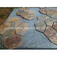 5 天然板岩乱拼石材 黄秀色贴墙石材 价格合理