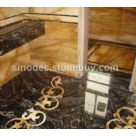 高档黑色大理石地板 石材水刀拼花图案 金色大理石水刀拼花