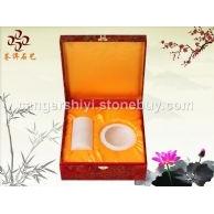 【苍洱石艺】天然白冰花玉 笔筒烟缸 办公用品 礼品 礼盒